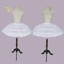 White 3 Hoops Wedding Petticoats for Short Dress Ballet Skirt Girls Crinoline Elastic Adjustable Waist Underskirt Jupon Court