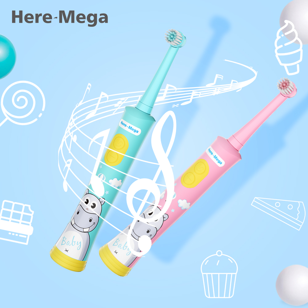 HERE-MEGA Kids Rotating Baby Electric Toothbrush Cleaning Whitening Timer Children Musical Tooth Brush USB Rechargeable