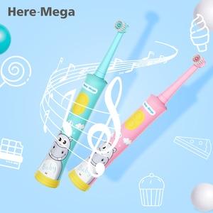 Image 1 - HERE MEGA Kinder Rotierenden Baby Elektrische Zahnbürste Reinigung Bleaching Timer Kinder Musical Zahn Pinsel USB Aufladbare