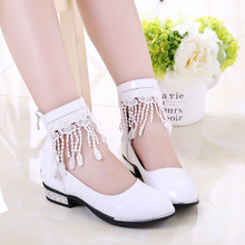 2019 Tassel Children Shoes For Girls Shoes For Party And Wedding High Heel Princess Leather Big Girl School Shoe Kid 4-12 Years цена 2017