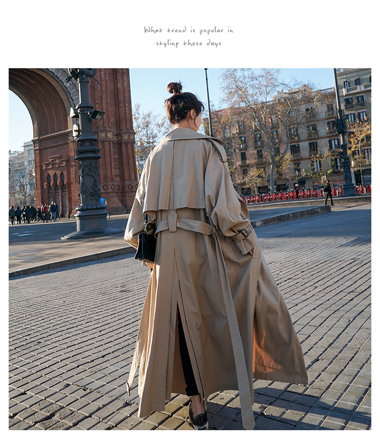 Hc83662354cb548ab9ed405a762413323T Korean Style Loose Oversized X-Long Women's Trench Coat Double-Breasted Belted Lady Cloak Windbreaker Spring Fall Outerwear Grey