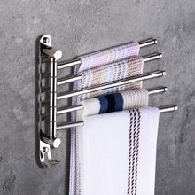 Stainless steel 180 degree rotary towel rack bathroom saving space bath movable five-layer hanger