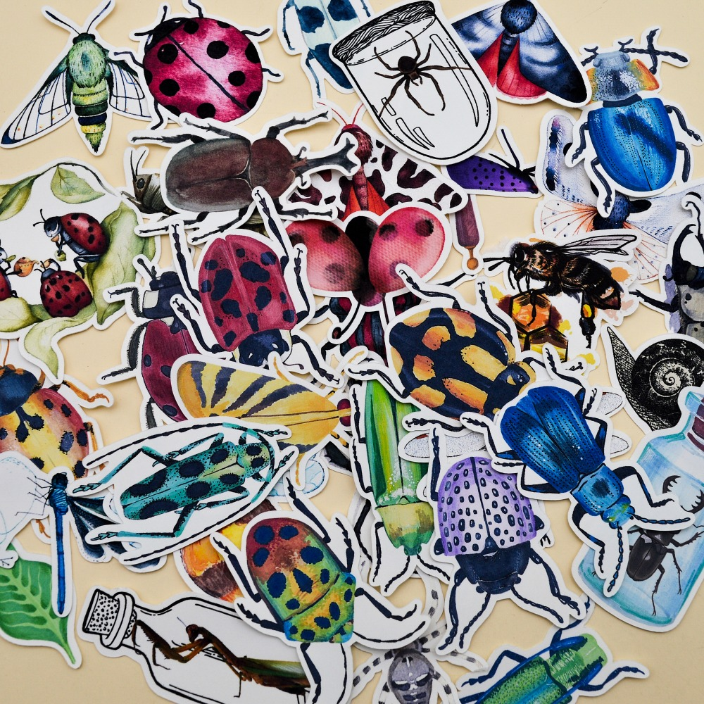36pcs Watercolor Natural Insect Collection Stickers Diary Notebook Planner/ Handbook DIY Paper Made Sticker Papeleria Stationary