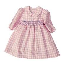 Детское клетчатое платье с круглым воротником розовое зеленое