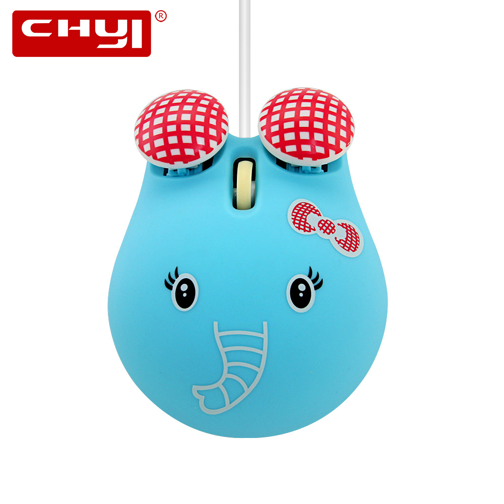 CHYI Cute Cartoon Usb Optical Computer Mouse Portable Ergonomic Laptop Mause Elephant Animal Wired Mice For Kids Macbook PC