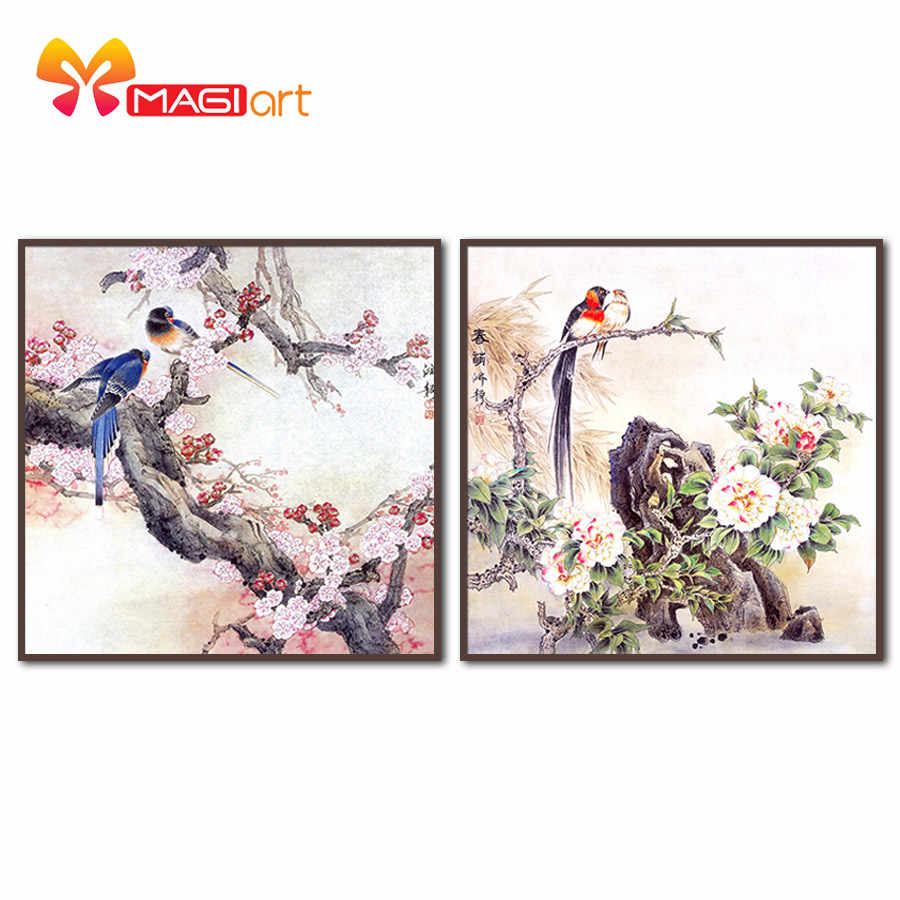 Kruissteek Kits Borduren Handwerken Sets 11CT Water Oplosbare Canvas Patronen 14CT Chinese Stijl Een Paar Birds-NCMA038