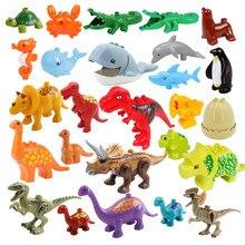 Educação montagem grandes blocos de construção jurássico dinossauro modelo suplemento acessórios compatível duplos criança durável brinquedos presente