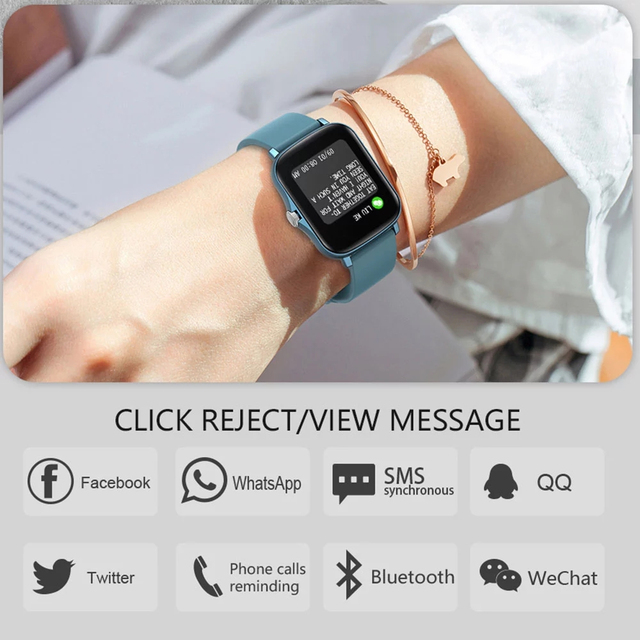 LIGE 2021 New Full touch Female Digital watch waterproof Sports suitable for Android IOS multifunction Electronic watch male+Box 6