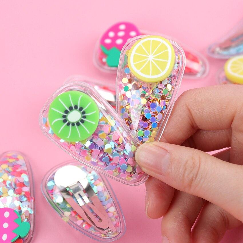 2PCS Popular Korean Fashion Colorful Quicksand Fruit Sequins Hair Clip Women Hairpins BB Clips Hair Accessories