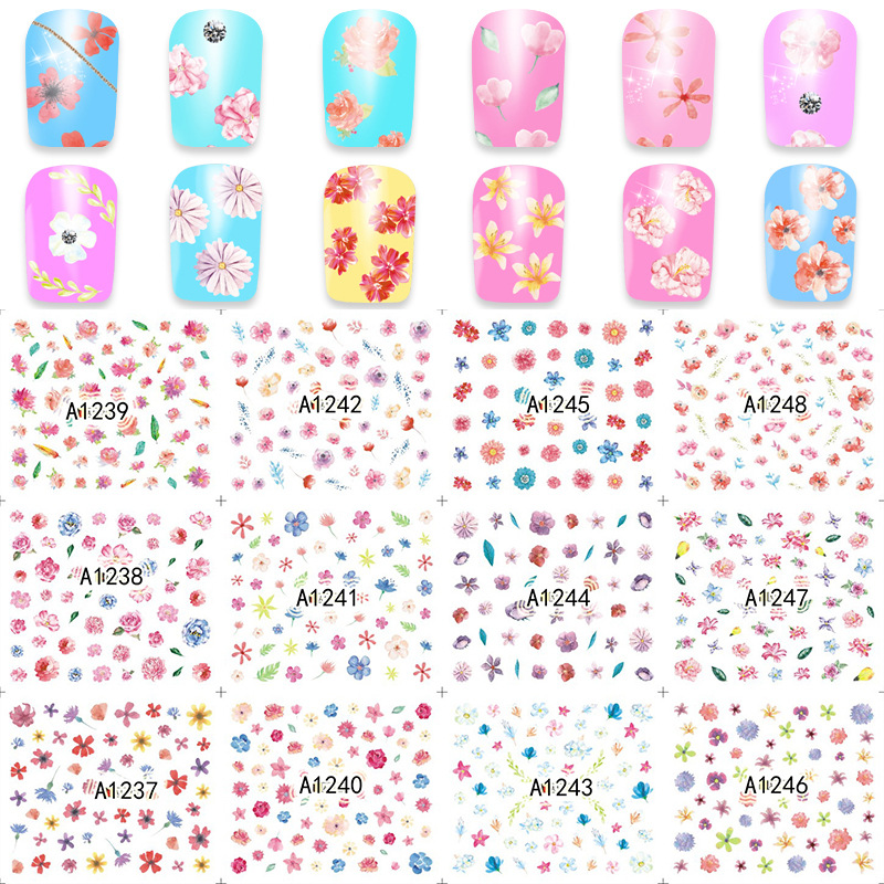 YZW12-in-One 2017 New Style Water Transfer Adhesive Paper Small Floral Cute Nail Sticker A1237-1248