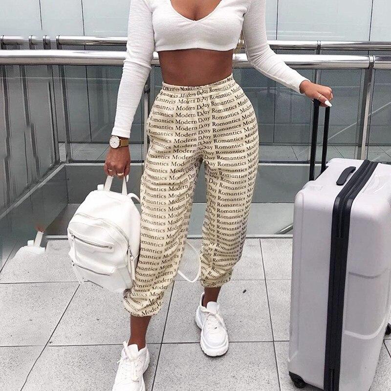 2019 New Harem Pants Trousers Women Full Length Loose Jogger Mujer Lettter Print Elastic Waist Trouser Femel Streetwear Fashion