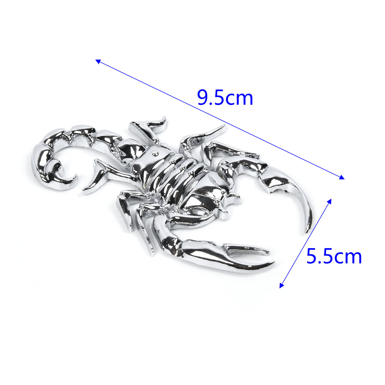 2 PCS Silver 3D Metal Car Stickers Scorpion Decals Car Trunk Body Animals Decals