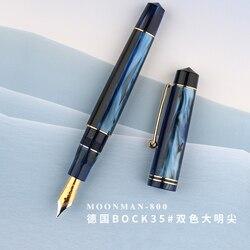 Neue Moonman 800 Harz Brunnen Stift Deutschland Importiert No. 6 BOCK Nib 35 # mit Konverter Aurora Blau Golden Clip schreiben Geschenk Stift