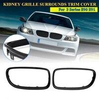 1 par Gloss Black Rim Grill Grille Cerca Covers para BMW Série 3 E90 E91 2009-2011
