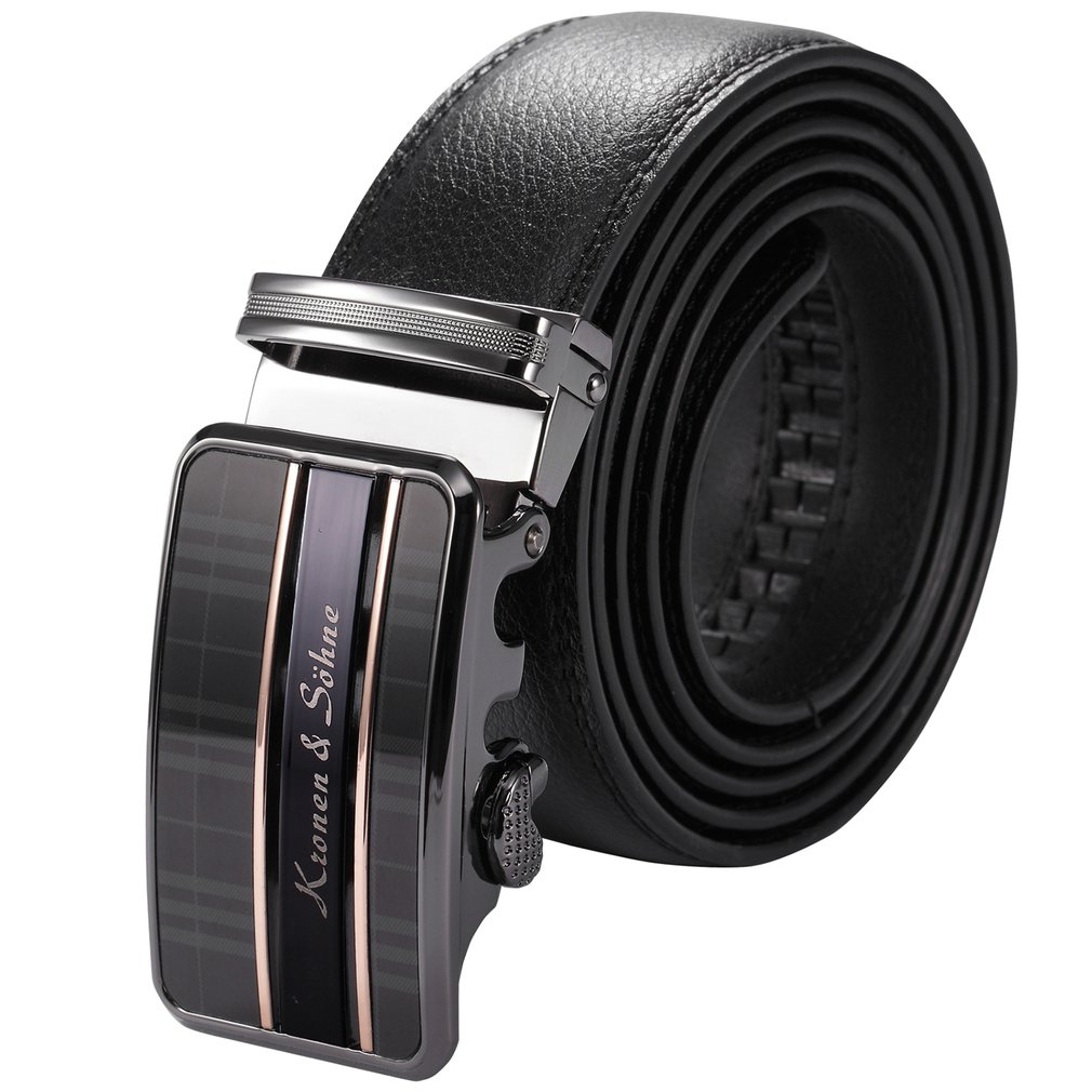 Korean Fashion Automatic Buckle Soft Leather Belts For Men Jeans Decorative Metal Buckle Waist Bands Best Gifts