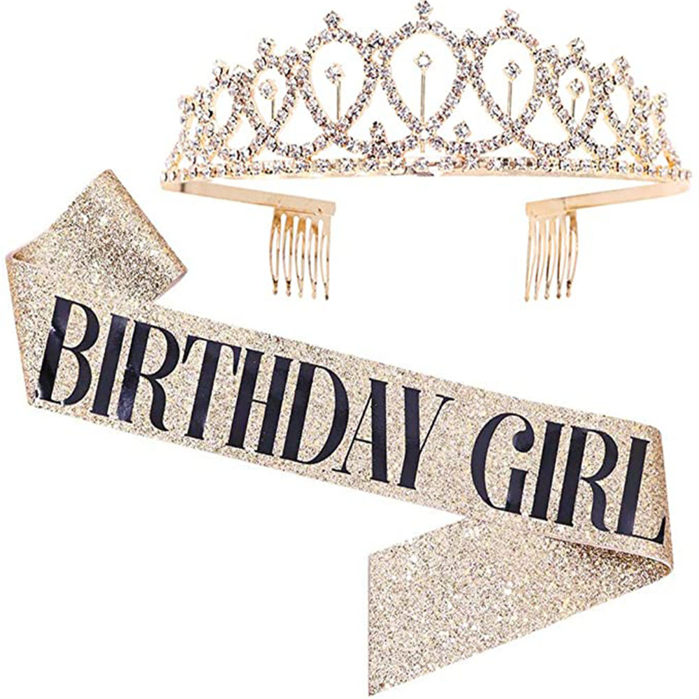 Happy Birthday 30th 40th 50th Rose Gold Satin Sash Crown Birthday Party Decorations Adult 30 40 <font><b>50</b></font> <font><b>Anniversary</b></font> Party Supplies image