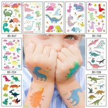 Dino – autocollants de tatouage temporaire de dinosaure, 1 feuille, pour fête d'anniversaire, Art corporel, étanche, fournitures de fête pour enfants