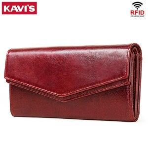 Image 1 - KAVIS cartera de cuero genuino de alta capacidad para mujer, monedero femenino, bolso de mano con abrazadera, tarjetero
