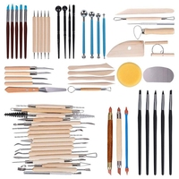 61Pcs Pottery Tools Clay Sculpting Tools Wooden Handle Pottery Carving Tool Set Clay Cleaning Tools Kits Rock Painting Kit for S