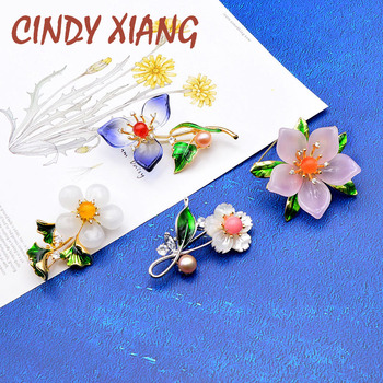 CINDY XIANG New Arrival Handmade Crystal Stone Flower Brooches For Women Enamel Pin Wedding Elegant Brooch High Quality cindy xiang 4 colors avaibale crystal flower brooches for women wedding pin pendant brooch spring new arrival high quality gift