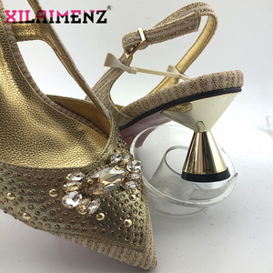 Image 5 - 2020 New Design Pointed Toe Sandals Italian Women Shoes and Bag to Match in Golden Color High Quality Nigerian Lady Party Shoes