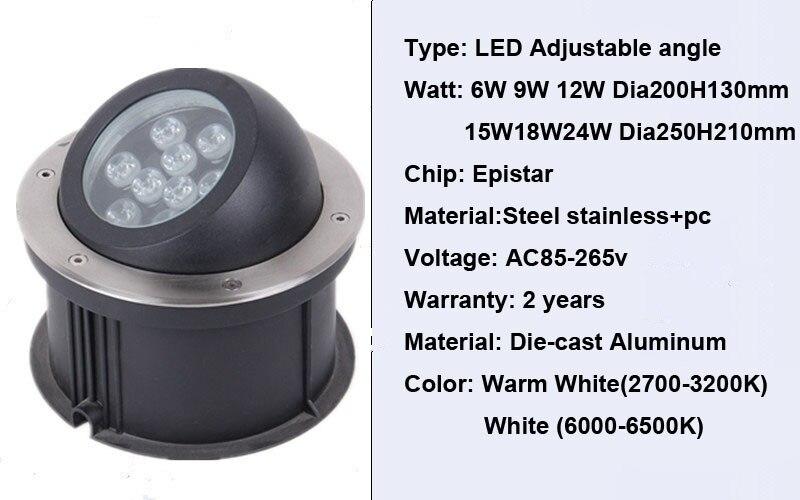 30w pode ser escurecido lampada led subterranea 05