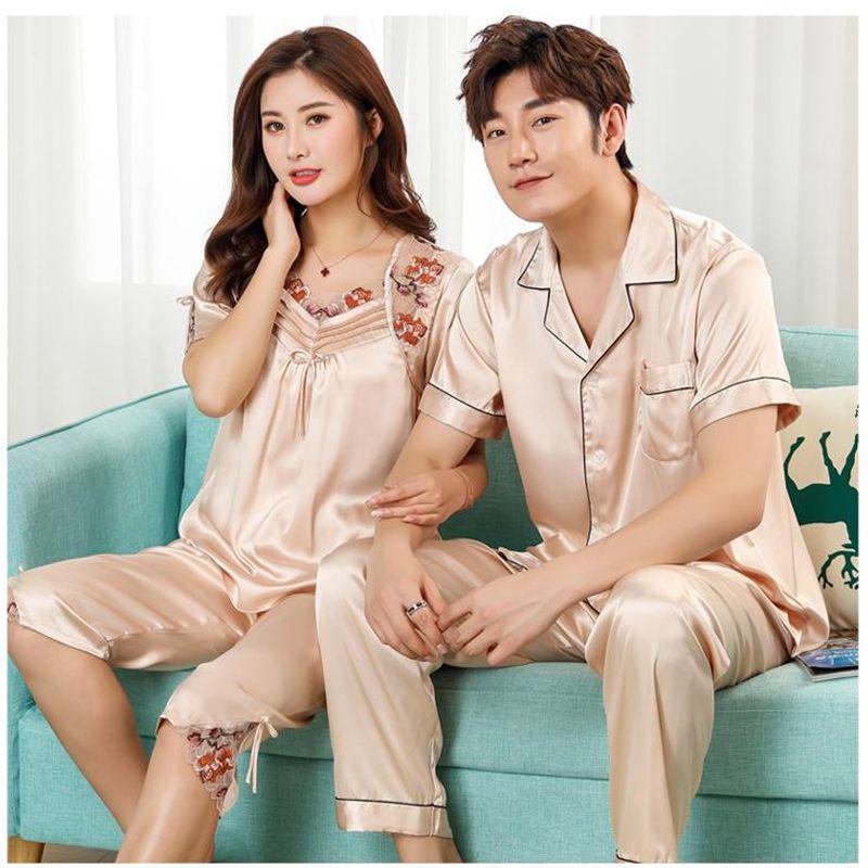 Home Service Silk Pajamas Set New Couple Short Sleeve Two-piece Pajamas Couple Pajamas Evening Clothes