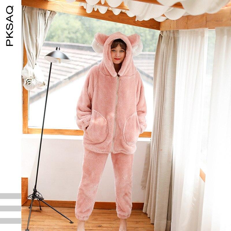 2019 hiver mignon Pyjamas épais chaud en peluche cornes Pyjamas ensemble 2 pièces à manches longues rose maison vêtements vêtements de nuit féminins Pyjamas à capuche