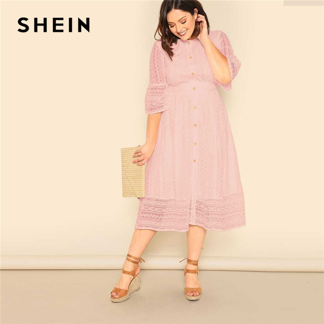 SHEIN Plus Size Lady Romantic Button Front Lace Overlay Maxi Dress Spring Elegant High Waist Half Sleeve A Line Long Dress 3