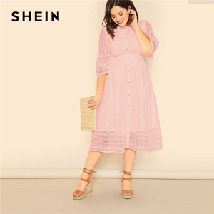Image 4 - SHEIN Plus Size Lady Romantic Button Front Lace Overlay Maxi Dress Spring Elegant High Waist Half Sleeve A Line Long Dress