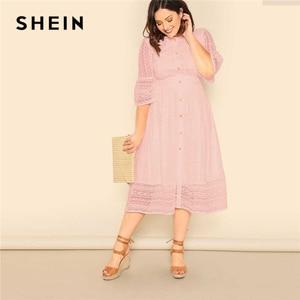Image 4 - Shein Plus Size Dame Romantische Button Voor Lace Overlay Maxi Jurk Voorjaar Elegante Hoge Taille Half Sleeve Een Lijn Lange jurk