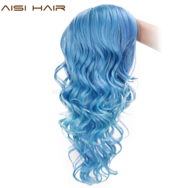 AISI HAIR Long Blue Wig Curly Hair Pink Purple Synthetic Mixed Color Wigs Side Part Wig for Party Cosplay Halloween