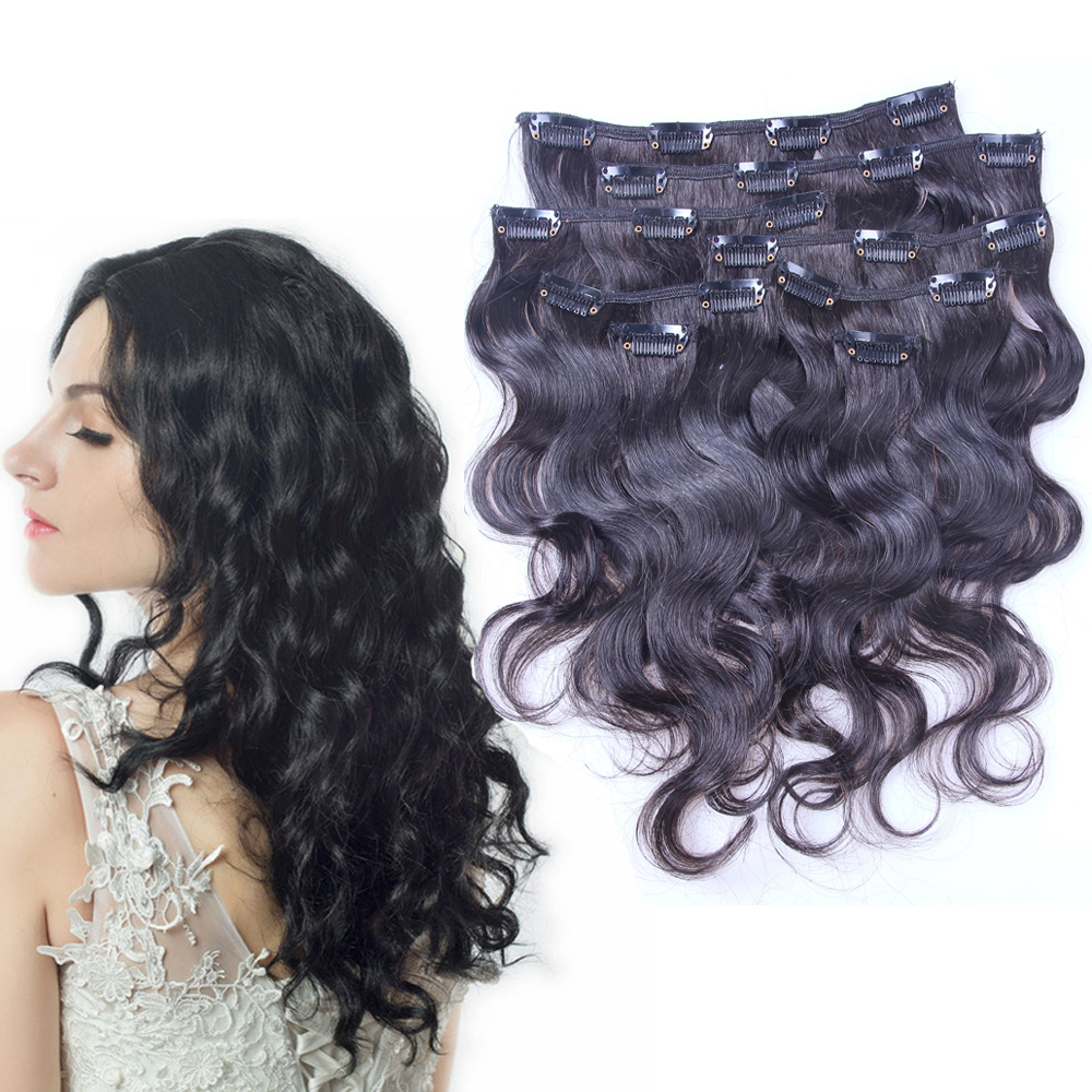 30inch Chinese Virgin Hair Clip In Human Hair Extensions Full Head for White Women 9pcs Set Body Wave Clips In Hair