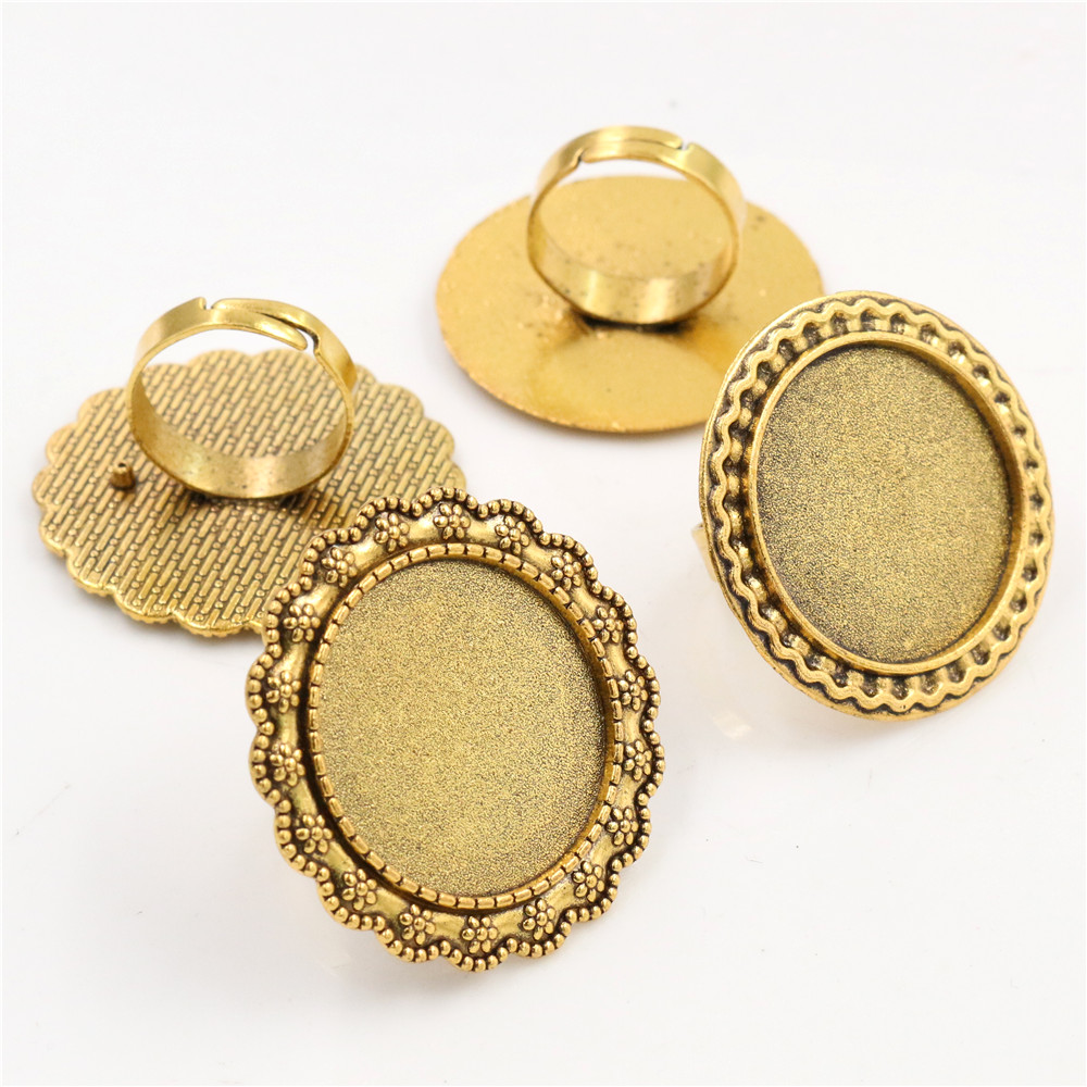 25mm 4pcs 2 Style Antique Gold Color Brass Adjustable Ring Settings Blank/Base,Fit 25mm Glass Cabochons,Buttons;Ring Bezels