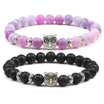 Pulseira de coruja moda feminina tiger eye pedra pulseiras pulseiras clássico 8mm preto branco natural lava frisado encantos jóias para homem