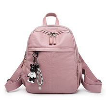 цены 2019 Hot sale New fashion PU Leather backpack women's bag leisure outdoor waterproof travel backpack school student bag ZX-037.