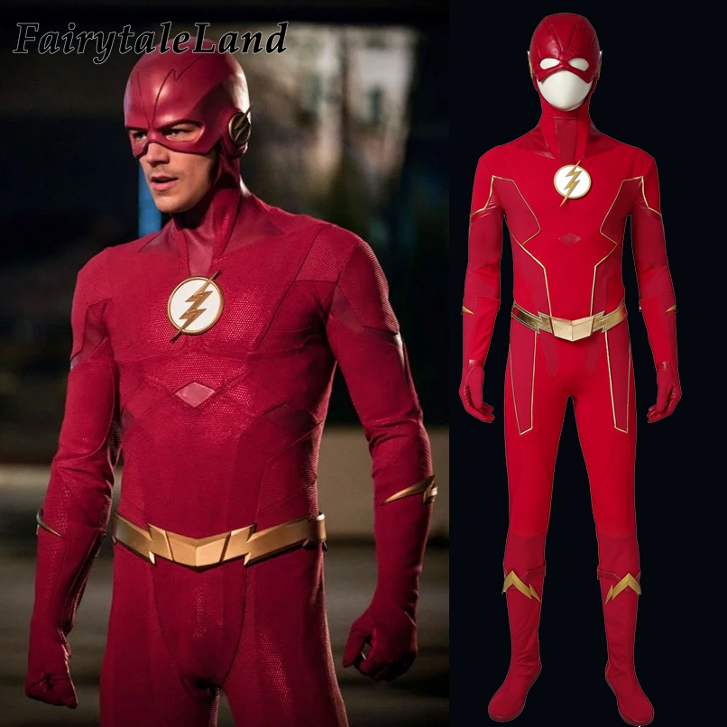 Adult Kids Barry Allen Costume Cosplay Jumpsuit Halloween Zentai Bodysuit Outfit