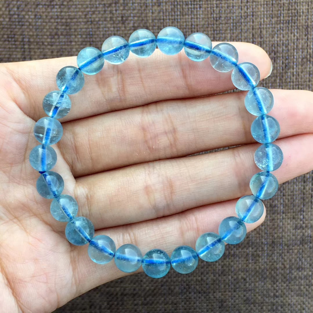 8mm azul natural aquamarine pulseira feminino presente