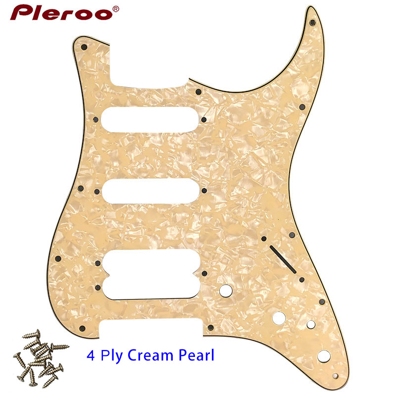 Pleroo Guitar Parts - For  US 11 Screw Hole Standard Start Player Humbucker Hss Guitar Pickguard Scratch Plate,4Ply Cream Pearl