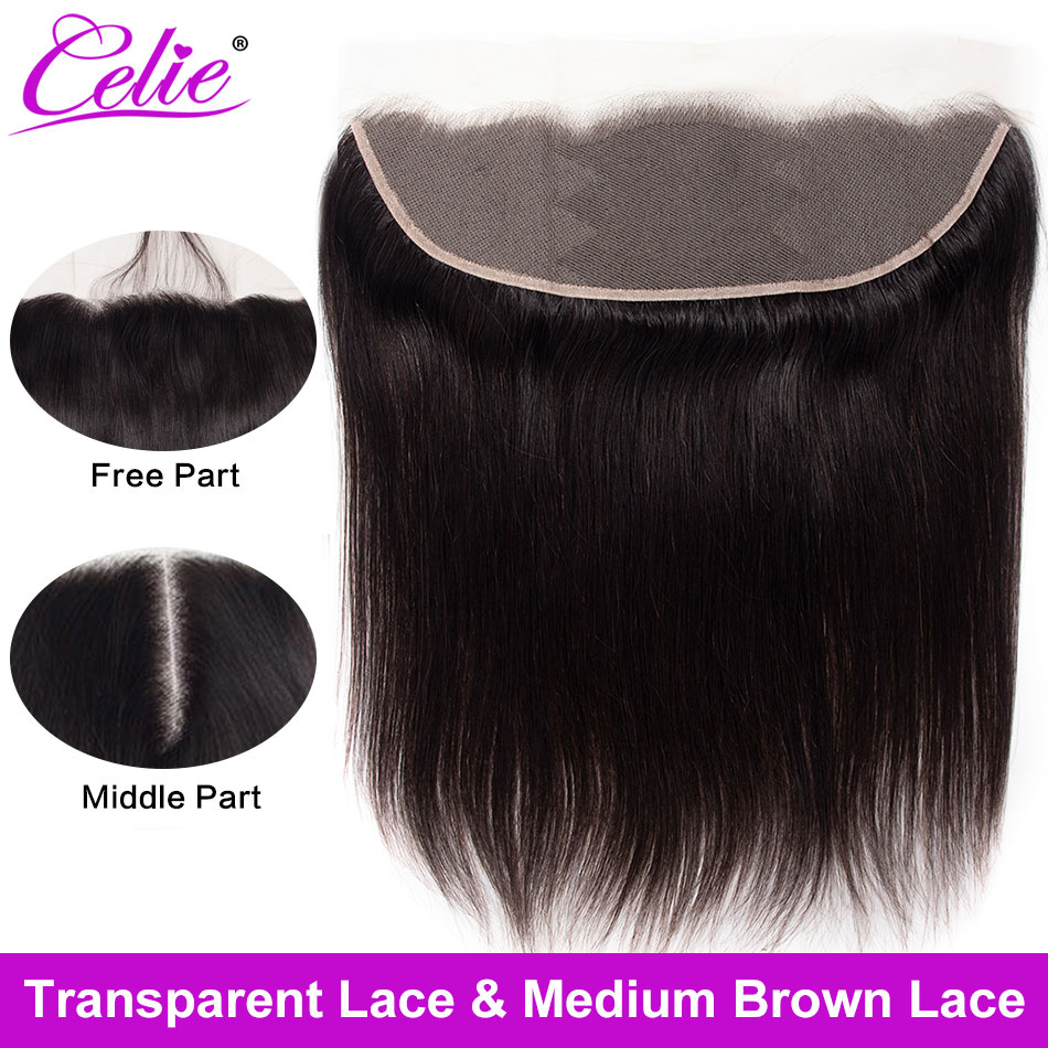 Celie Closure Human-Hair Lace-Frontal Hair-Hd Swiss Brazilian To Ear Straight title=