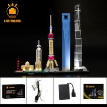 LIGHTAILING светодиодные комплект для архитектуры Шанхайский строительный блок установить совместимость с 21039