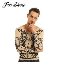 FEESHOW hommes faux tatouage conception élastique à manches longues T-Shirt chandail tatouage maille col rond T-Shirt pour les Costumes d'halloween carnaval chemises(China)