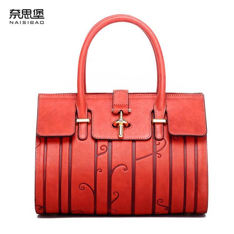 NASIBAO 2019 New top Leather Embossed fashion luxury handbags women bags designer Genuine Leather bag women Handbags