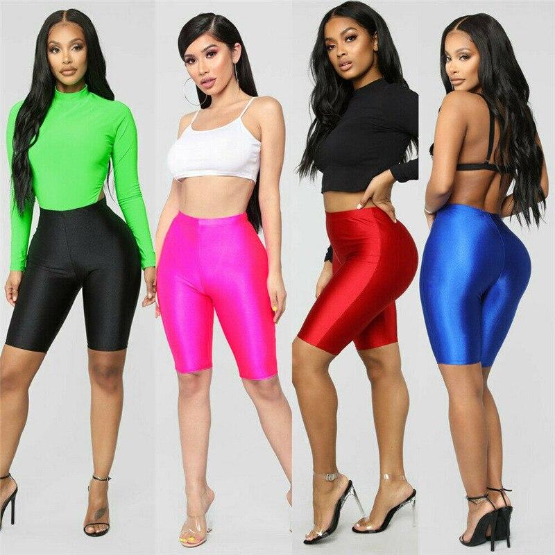Women Stretch Biker Bike Shorts Workout Fitness Spandex Leggings Knee Length Hot Sports Bottoms Solid Black Red Blue S M L XL