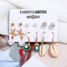 HOCOLE Natural Shell Earrings Set For Women Bohemian Pearl Crustal Stud Cowrie Drop Earring Boho Beach Jewelry