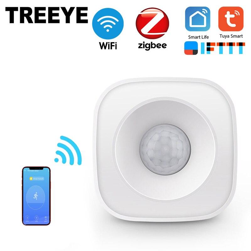 Treeye wifi sensor de corpo humano sem fio inteligente movimento do corpo pir sensor de movimento uso zigbee com gateway tuya vida inteligente app