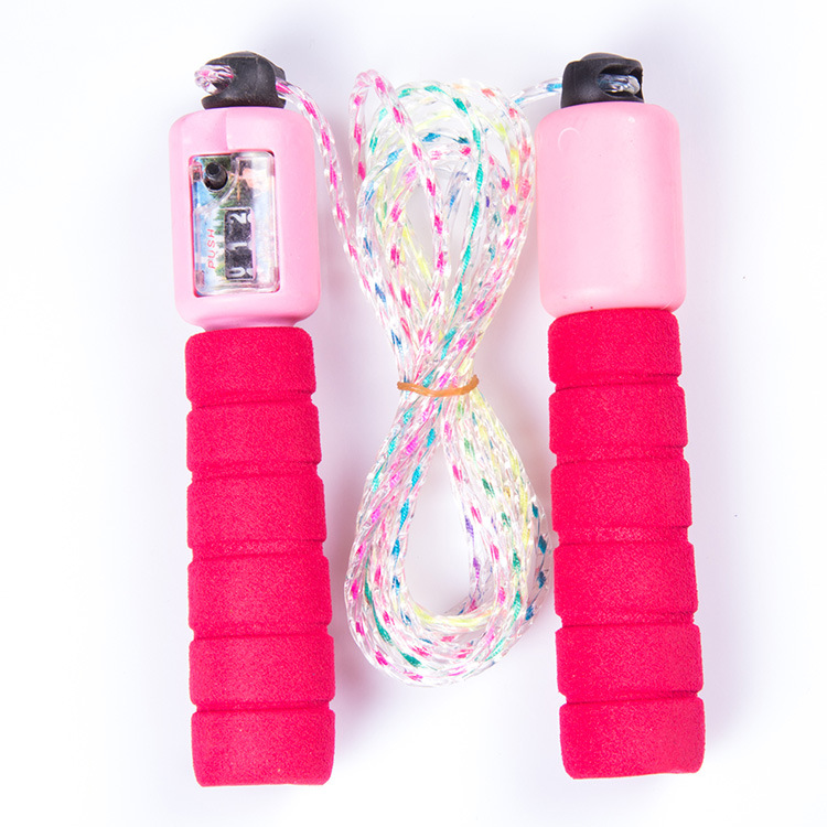 With Sponge Set Colorful Count Jump Rope Children Plastic Skipping Rope Students Sports Supplies