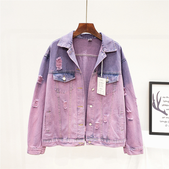 Harajuku Street Style Wash Oversized Frayed Denim Jacket Women Faded Purple Jeans Jacket Grunge Female Coat Spring 2020 New studded frayed hem denim jacket