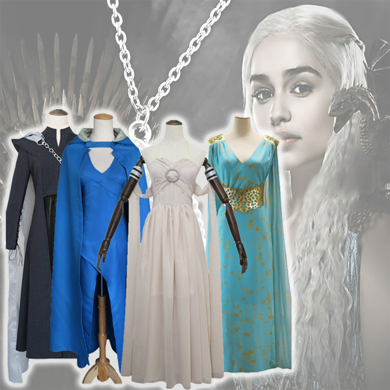 Daenerys Targaryen Game Of Thrones Cosplay Costume Blue Cosplay Dress Fantasia Wig Fashion Women Dress