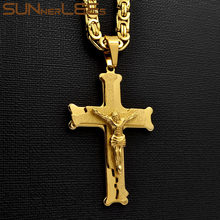 SUNNERLEES 316L Stainless Steel Jesus Christ Cross Pendant Necklace Byzantine Link Chain Silver Gold Black Men Boys Gift SP207(China)